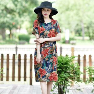 棉绸中长款夏天2021新款妈妈连衣裙