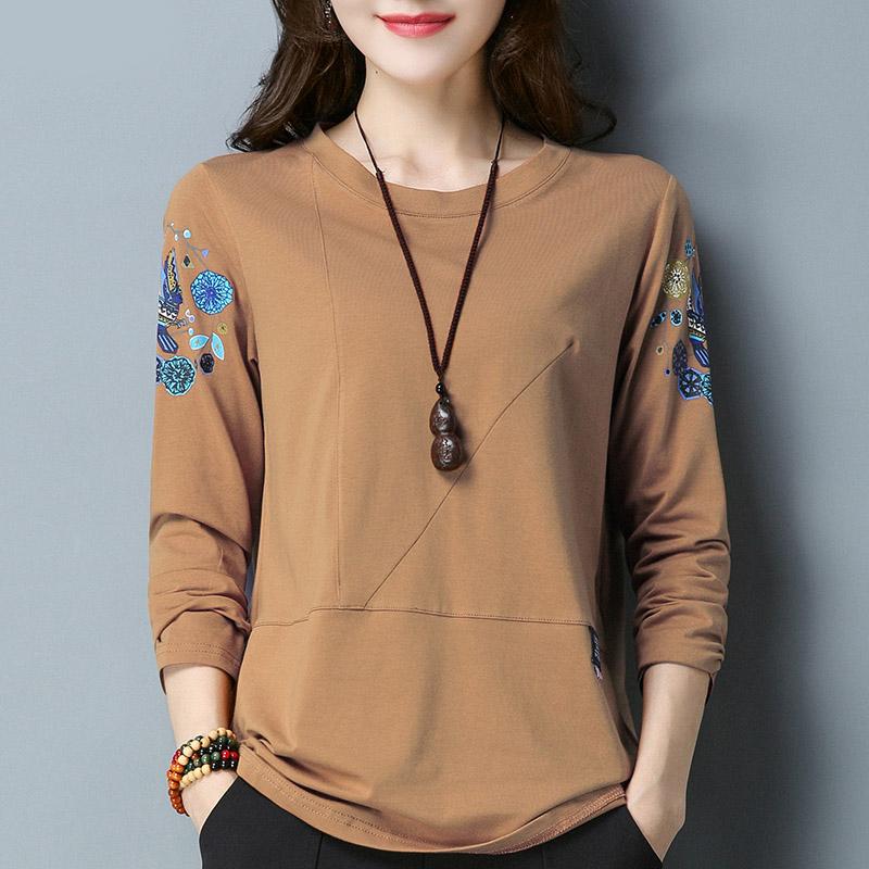 長袖T恤打底衫純棉布短款上衣服中年女裝胖子媽媽小衫夏秋衣外穿
