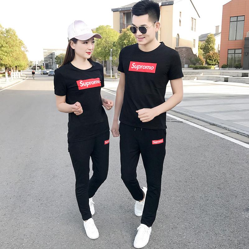 休闲时尚运动情侣套装两件套2018夏季新款修身男士短袖t恤一套
