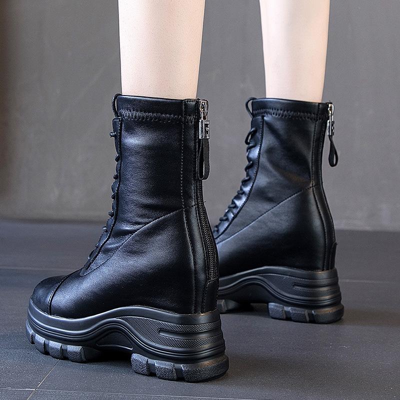 内增高马丁靴女厚底短靴2020新款夏季薄款百搭英伦风春秋季单靴子