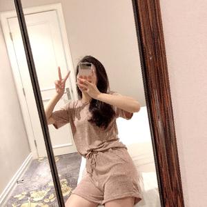 实拍纯棉休?#24615;?#21160;凉凉套装女短袖t恤长裤2019夏天新款时尚两件套