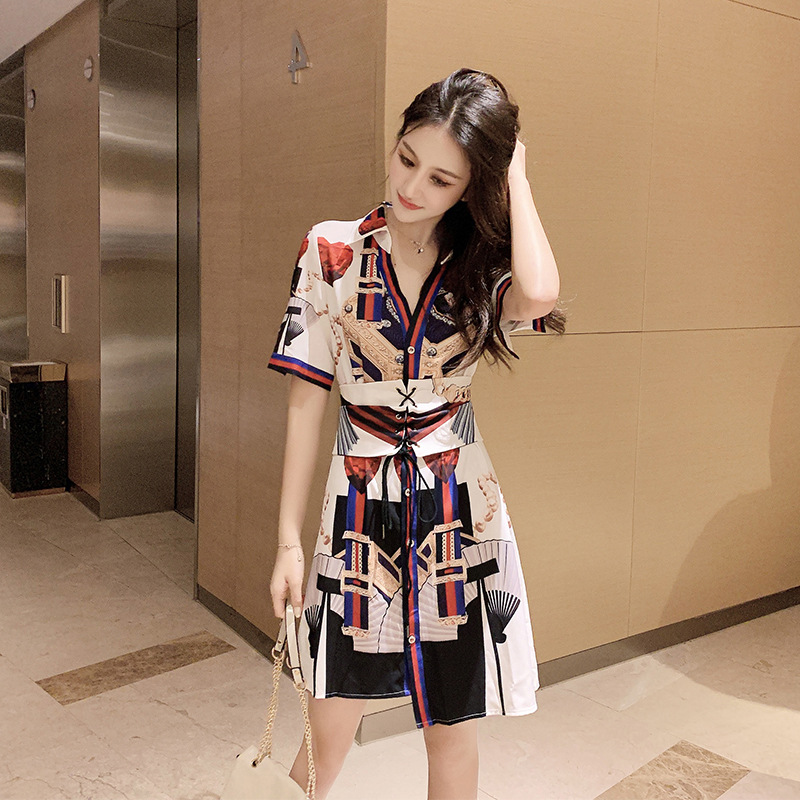 Summer 2020 new womens clothing Korean fashion temperament net red printed shirt short sleeve medium length dress for women