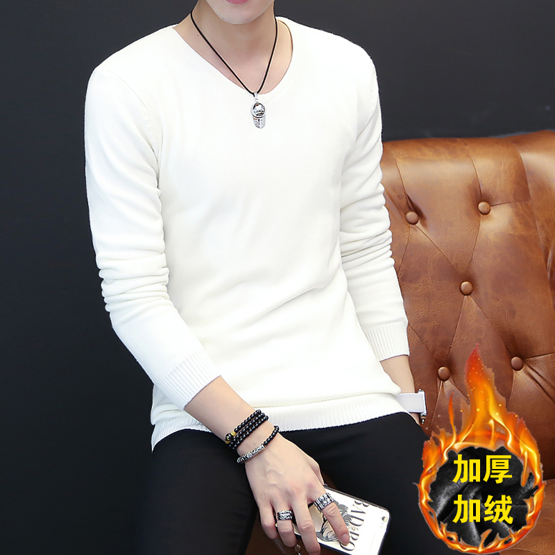 Autumn Korean white sweater mens Plush thickened V-neck Pullover solid color youth slim fitting T-shirt