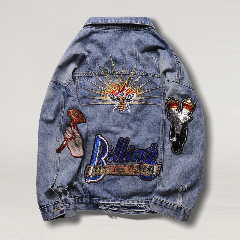 2021 spring dress Korean style fashion hole embroidery sequins versatile casual jeans jacket blouse