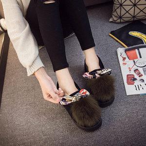 时尚蝴蝶结豆豆鞋女士百搭棉鞋防滑保暖外穿包跟毛毛棉拖鞋女冬季