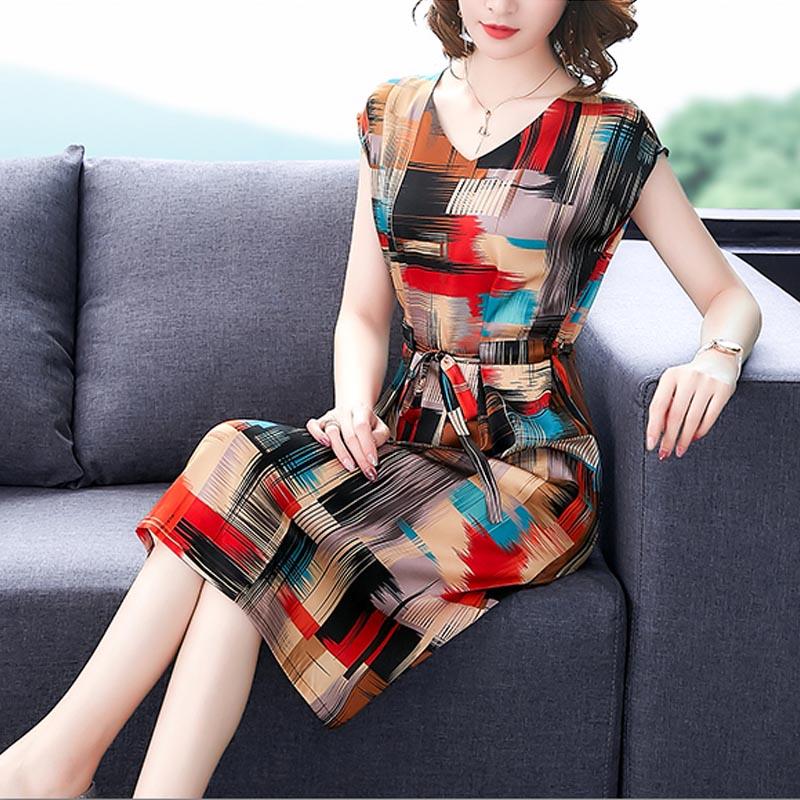 杭州丝绸妈妈气质修身桑蚕丝裙子限10000张券