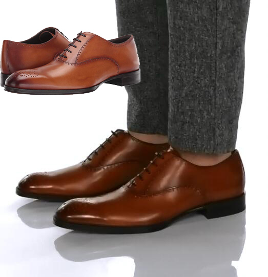 Buy to boot Italian British carved cowhide retro lace up business formal leather shoes Oxford Shoes Men