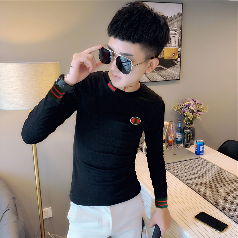 Others / other tight fitting long sleeve t-shirt mens spring and autumn spirit boys clothes fashion brand cool and handsome half high collar bottoming shirt