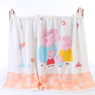 婴儿浴巾纯棉双层纱布儿童盖被正方形宝宝幼儿园毛巾被夏季薄款