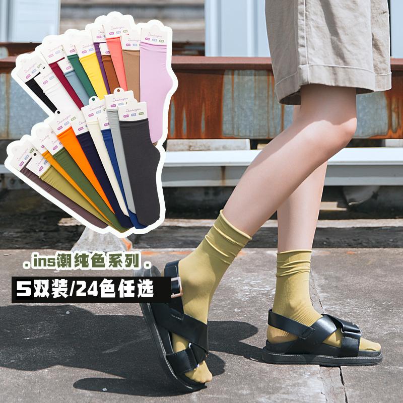 薄堆堆袜子女ins潮春夏季纯色天鹅绒女士薄款日系可爱中筒女袜子