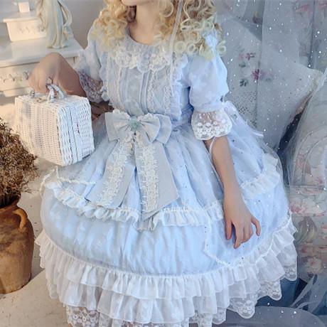 原创正版Lolita星颂op夏季甜美轻花嫁款洛丽塔日常洋装连衣裙全套券后188.00元