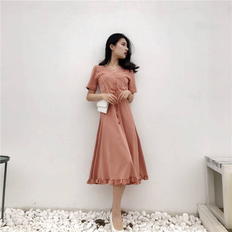 Retro and minimalist Hong Kong Style ins super hot cold air dress shows thin temperament, after 00 pphome skirt long style