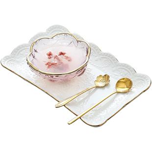 創意日式金邊櫻花玻璃碗 燕窩碗糖水銀耳湯碗盅雪糕沙拉碗甜品碗