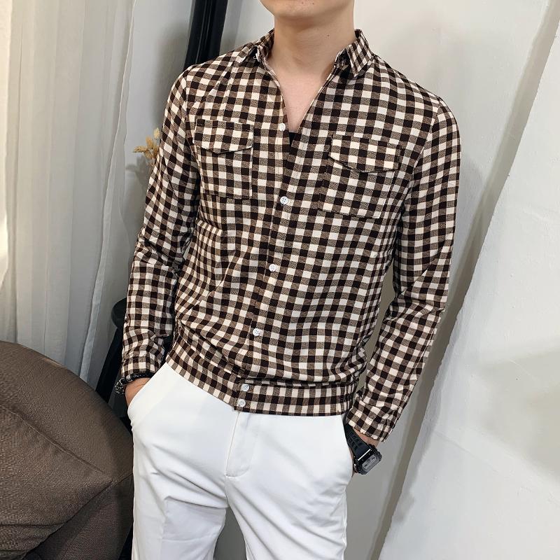 春秋韩版修身型长袖潮流学生衬衫