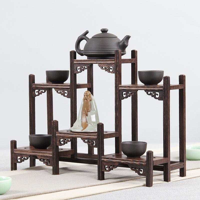 鸡翅木博古架实木中式小多宝阁紫砂茶壶茶具架子置物架摆件展示架
