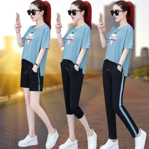 短袖短裤休闲运动服套装女夏季2019新款夏装韩版时尚纯棉两件套潮