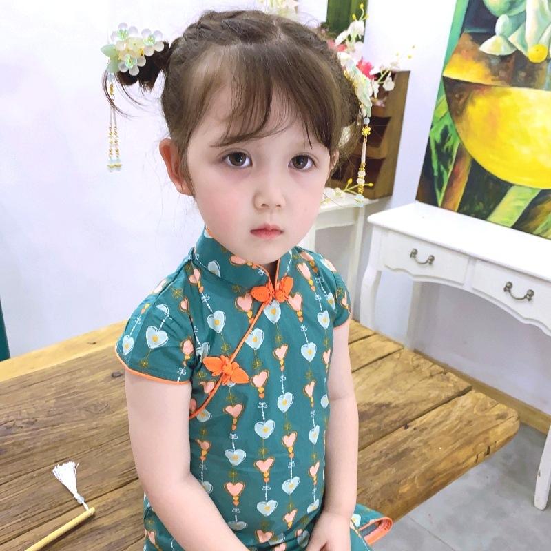 女童汉服夏装3中国风4民国风5宝宝旗袍裙6唐装7绿色2-8岁小女孩裙