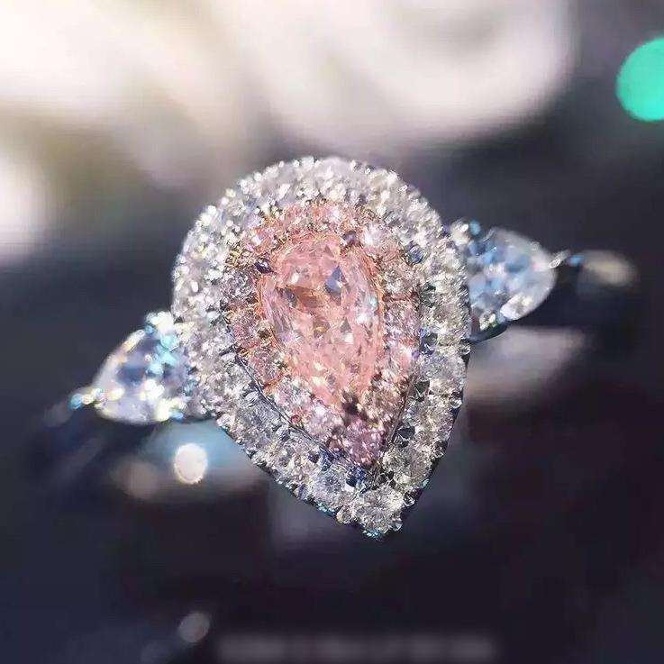 镀金珠宝裸钻彩钻粉钻石女款戒指水滴形微镶满钻仿真钻戒