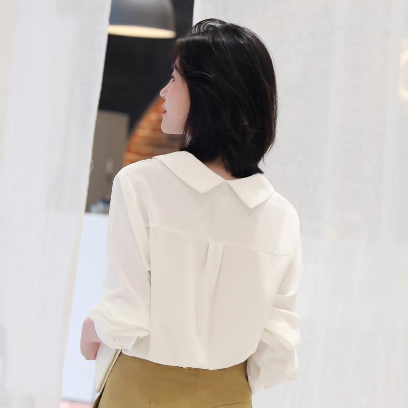 轩腾2019新款雪纺娃娃领衬衫女韩版宽松长袖白色衬衣休闲上衣春秋热销176件有赠品
