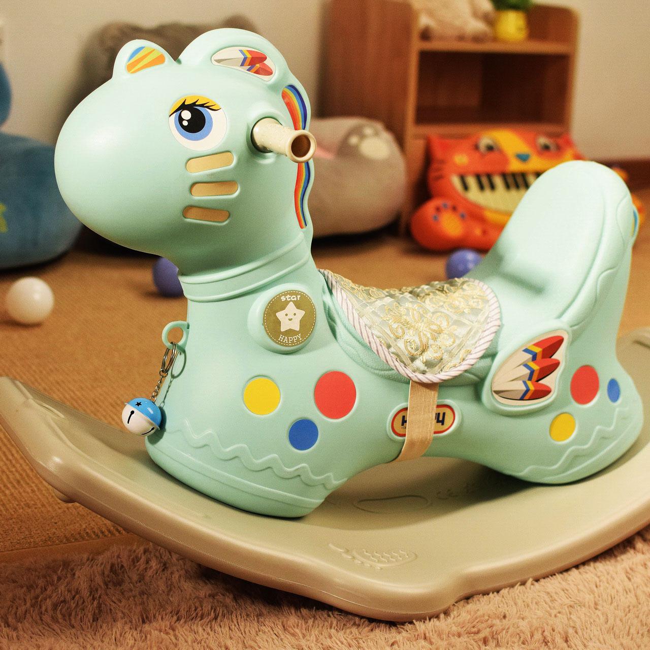 诺莎木马儿童玩具摇摇马带音乐大号加厚塑料小宝宝1-2周岁礼物