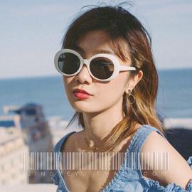 嘻哈墨镜女潮ins酷复古港风海边度假网红街拍蹦迪白色框太阳眼镜图片