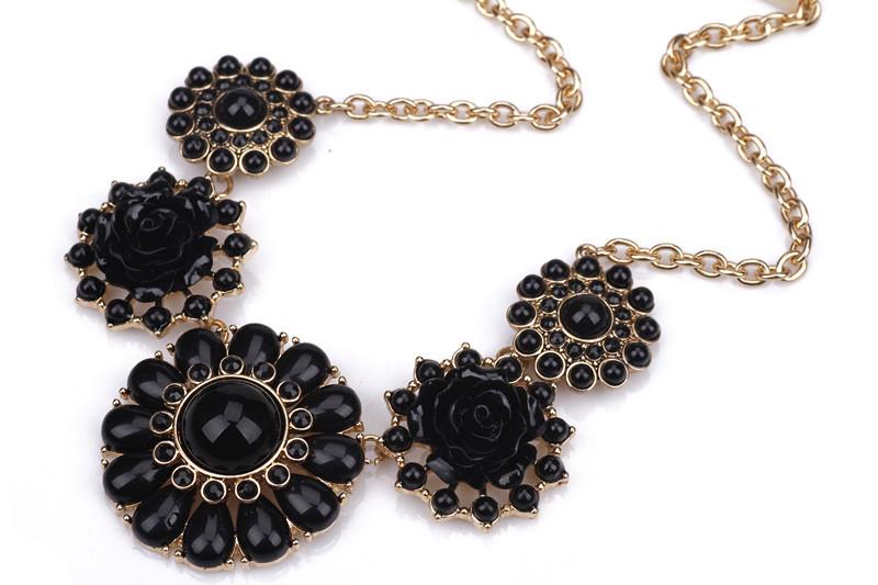 欧美外贸大气代工厂宝石花朵短款项链锁骨链黑色宫廷奢华度假风女