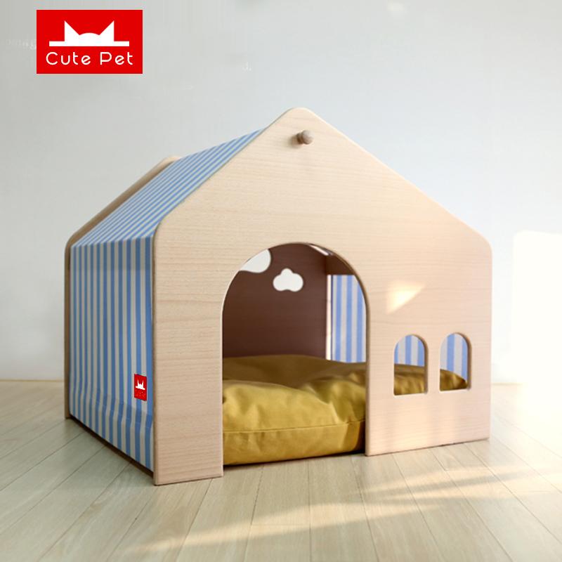 网红狗窝宠物小型犬泰迪室内狗狗房子四季通用冬天保暖狗屋狗别墅图片