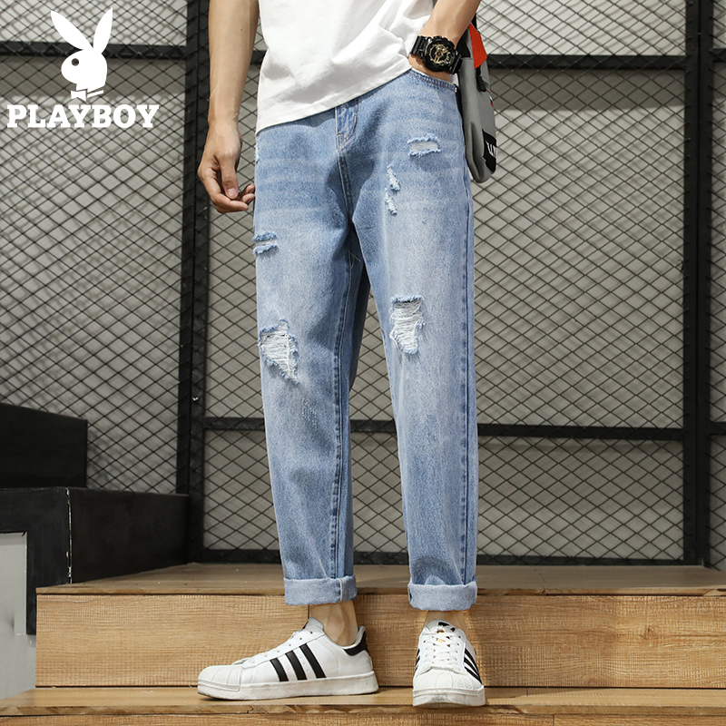 Playboy jeans men's straight tube loose Korean Trend spring summer thin hole nine point casual long pants