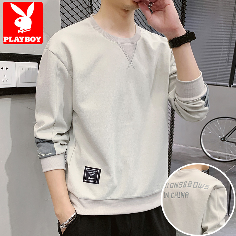 Playboy sweater men's 2020 spring new round collar long sleeve T-shirt trend loose and handsome spring clothes