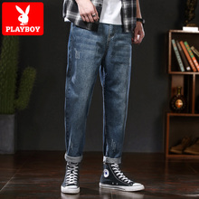 Playboy jeans, the new Korean version of the autumn, the trend, the trend, the leisure, the nine feet, the trousers.