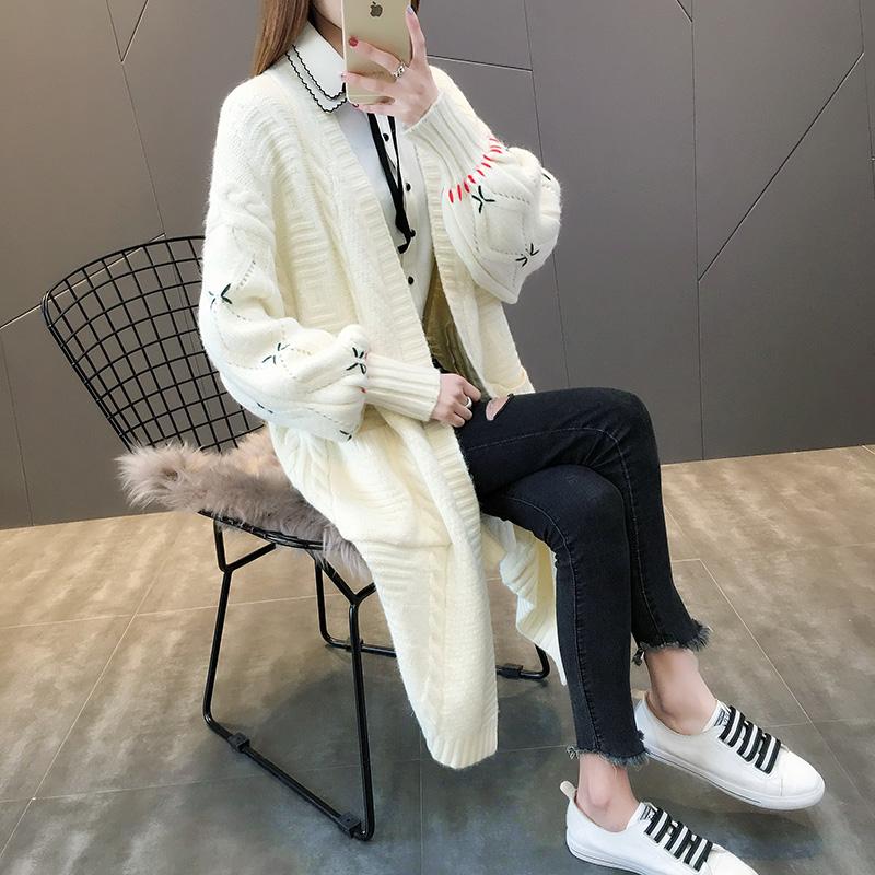 2018春秋韩版新款中长款针织衫女开衫灯笼袖宽松麻花厚毛衣外套女