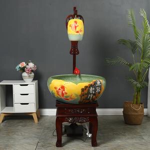 景德镇陶瓷中式鱼缸摆件过滤器鱼缸循环流水金鱼缸乌龟缸荷花瓷缸