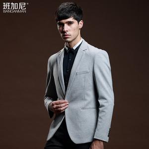 领110元券购买男士休闲羊毛呢子小西服韩版修身商务英伦风免烫西装单西春季外套