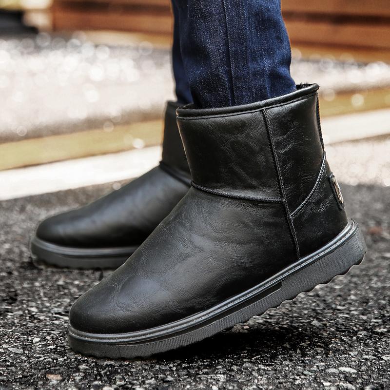 冬季英伦面包雪地靴男防滑保暖加绒棉鞋男高帮鞋潮流短靴防水棉靴