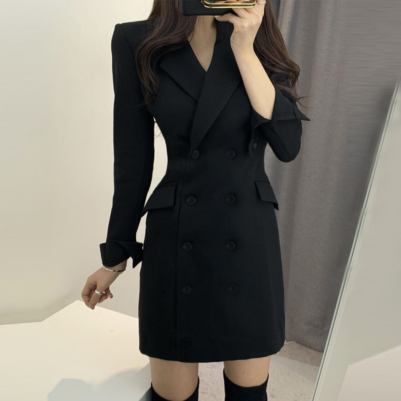 Spring and autumn suit dress womens new shoulder pad double breasted medium length waist close fitting work clothes professional coat