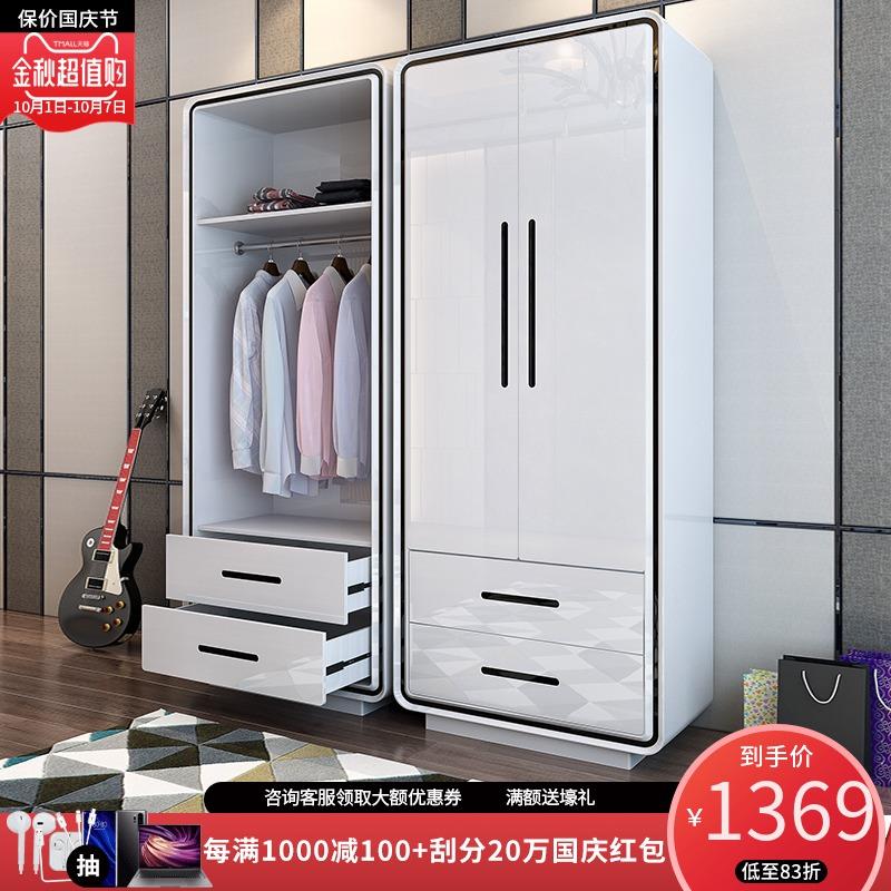 小户型卧室烤漆衣柜 简约现代经济型对开门板式储物柜衣橱柜子