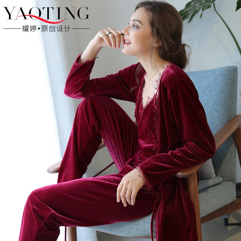 睡衣女士秋冬季三件套金丝绒新娘晨袍长袖睡袍红色结婚新婚家居服