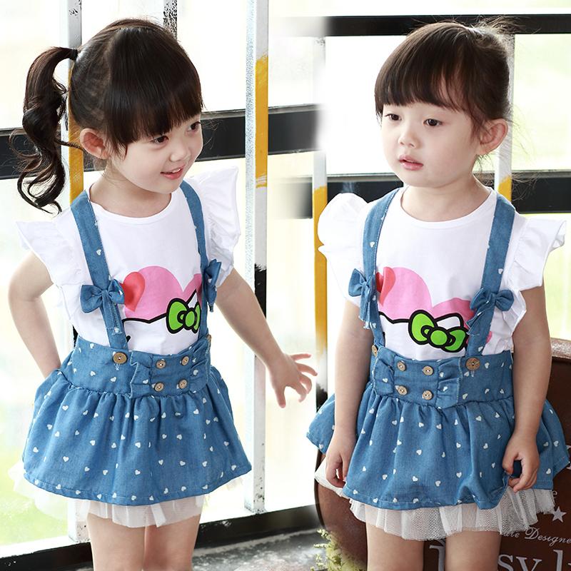 寶寶夏裝套裝2可愛卡通3 T恤牛仔背帶裙兩件套4~5歲女童套裝潮