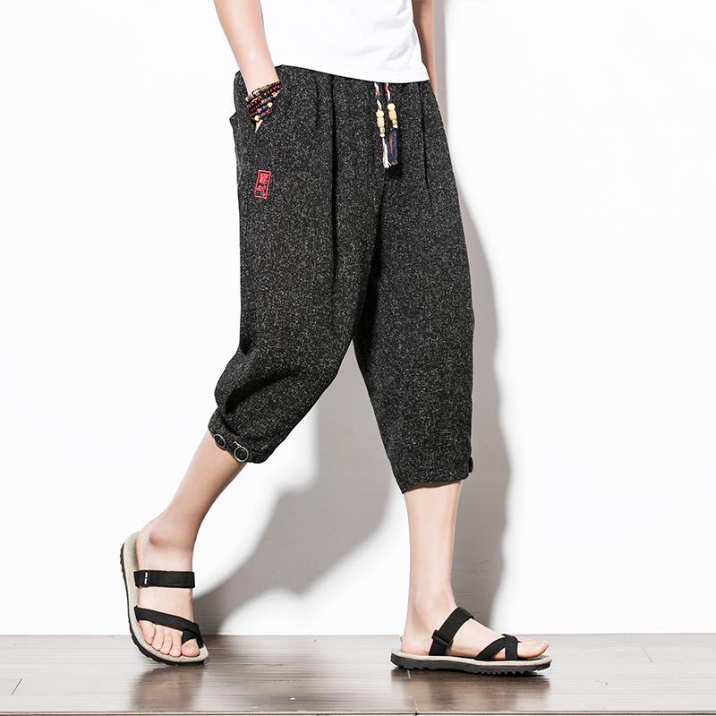 满158.00元可用92元优惠券胖子夏季中国风七分男宽松小脚裤子