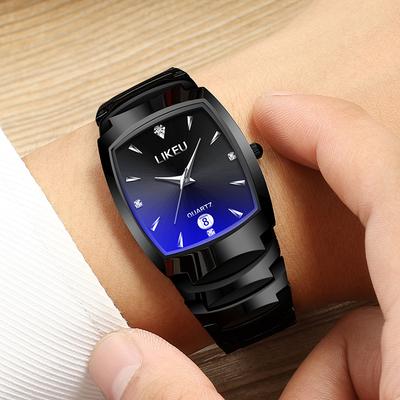 正品手表男士防水钨钢色时尚商务大气潮男表学生男款非机械表腕表