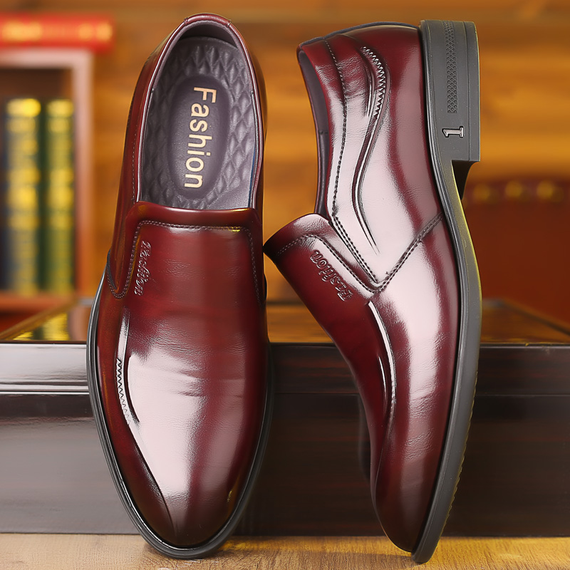 Spring style simple British casual mens business shoes without laces wine red dark red pointed leather shoes