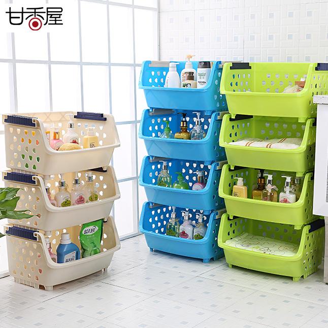 甘香屋單層蔬菜水果廚房置物架層架收納筐儲物架收納架塑料菜籃子