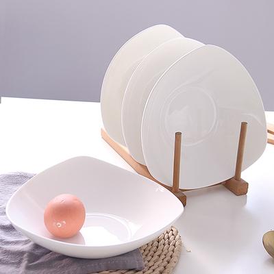 6只陶瓷餐盘家用装菜深盘子骨瓷三角形碟子菜碟菜盘炒菜汤盘深盘