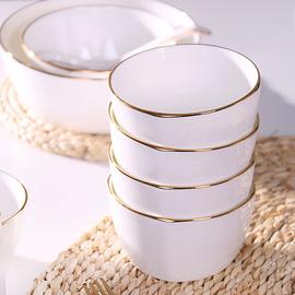 日韩四方小碗家用金边陶瓷碗米饭碗大号骨瓷吃饭的碗1只面碗汤碗