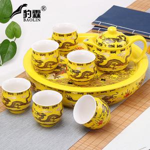 隔热功夫茶具套装家用陶瓷泡茶杯茶壶茶盘简约现代中式青花瓷茶台