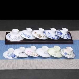 豹霖单盖三才盖碗茶碗茶杯盖子配盖陶瓷功夫茶具配件零配白瓷大号