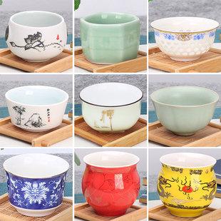 豹霖功夫小茶杯陶瓷茶盏茶碗家用单个品茗杯紫砂主人杯青花瓷泡茶图片