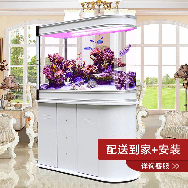 嘉洋子弹头鱼缸中型家用免换水生态客厅玻璃懒人屏风底过滤水族箱