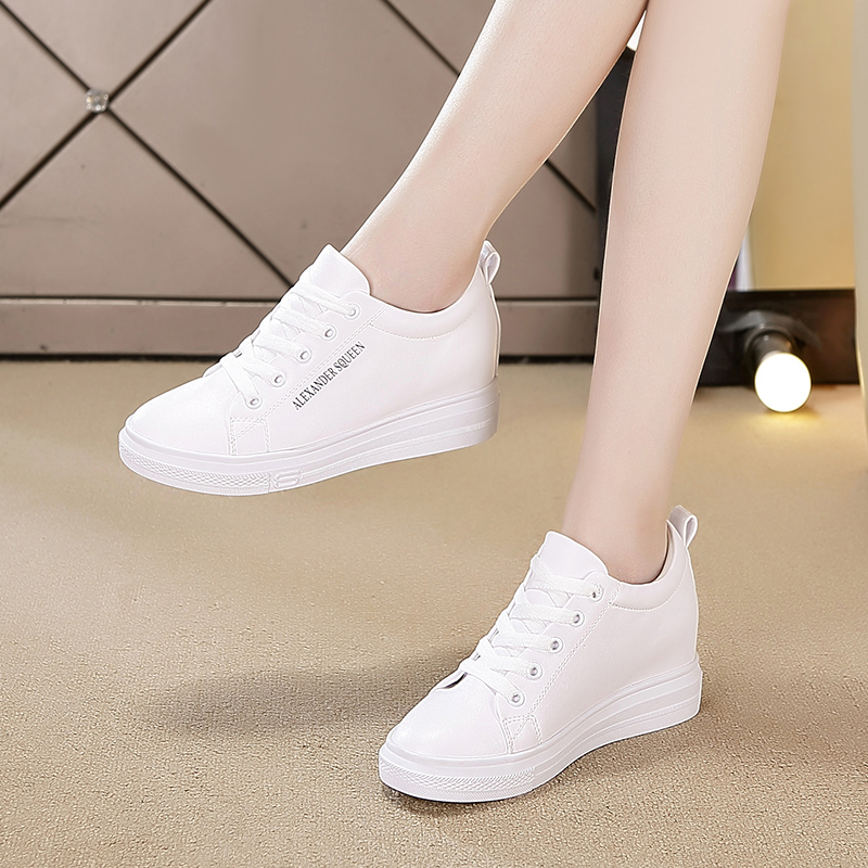 2020春季内增高女鞋新款2019小白运动百搭休闲运动鞋白色冬季加绒