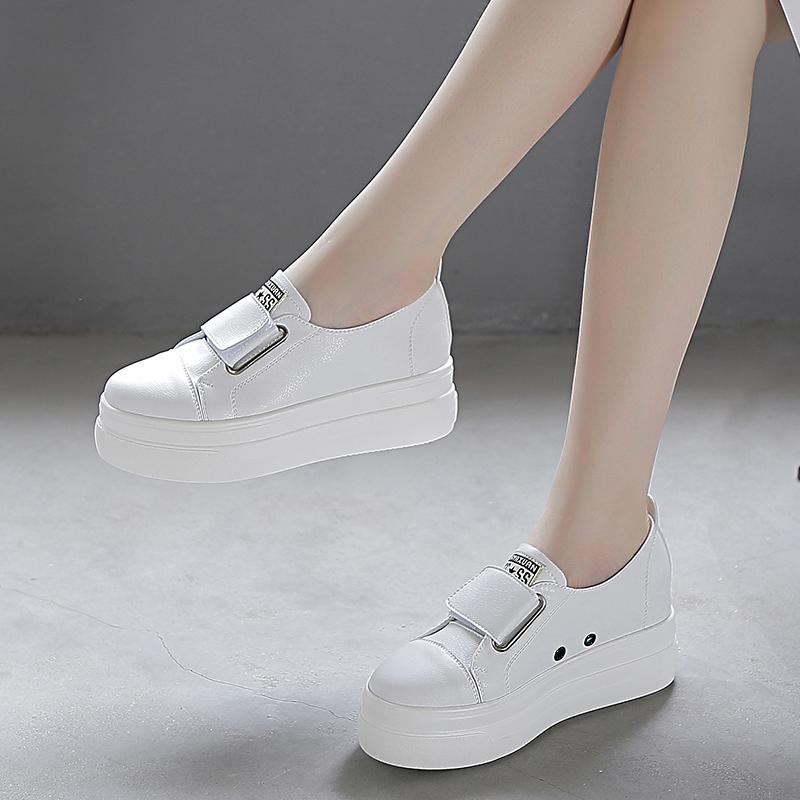 2021春季女鞋松糕小白新款百搭休闲厚底单鞋网红白色夏季欧洲站潮